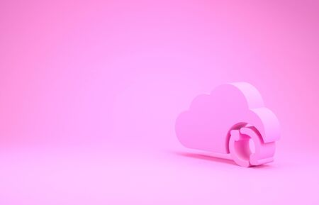 Pink Cloud sync refresh icon isolated on pink background. Cloud and arrows. Minimalism concept. 3d illustration 3D render Фото со стока