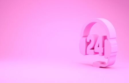 Pink Headphone for support or service icon isolated on pink background. Consultation, hotline, call center, faq, maintenance, assistance. Minimalism concept. 3d illustration 3D render