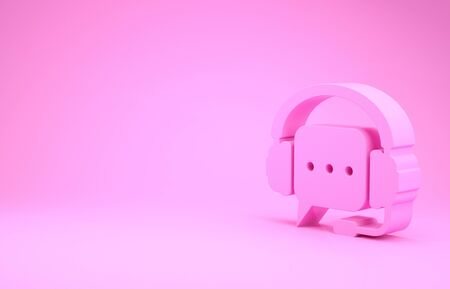 Pink Headphones with speech bubble icon isolated on pink background. Support customer services, hotline, call center, guideline, maintenance. Minimalism concept. 3d illustration 3D render