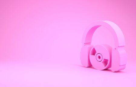 Pink Headphones and CD or DVD icon isolated on pink background. Earphone sign. Compact disk symbol. Minimalism concept. 3d illustration 3D render
