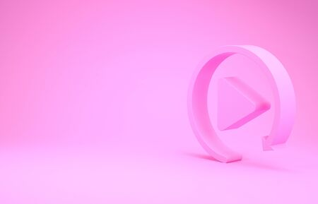 Pink Video play button like simple replay icon isolated on pink background. Minimalism concept. 3d illustration 3D render