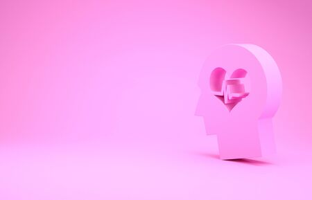Pink Male head with a heartbeat icon isolated on pink background. Head with mental health, healthcare and medical sign. Minimalism concept. 3d illustration 3D render