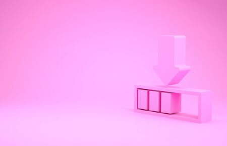 Pink Loading icon isolated on pink background. Download in progress. Progress bar icon. Minimalism concept. 3d illustration 3D render