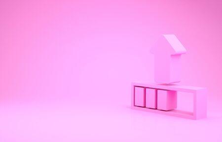 Pink Loading icon isolated on pink background. Upload in progress. Progress bar icon. Minimalism concept. 3d illustration 3D render Banco de Imagens