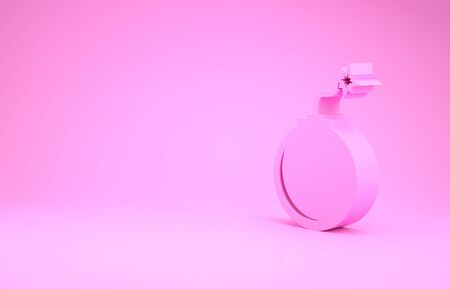 Pink Bomb ready to explode icon isolated on pink background. Minimalism concept. 3d illustration 3D render