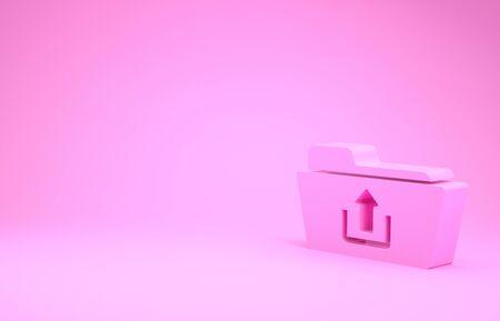 Pink Folder upload icon isolated on pink background. Minimalism concept. 3d illustration 3D render Stok Fotoğraf - 131637615