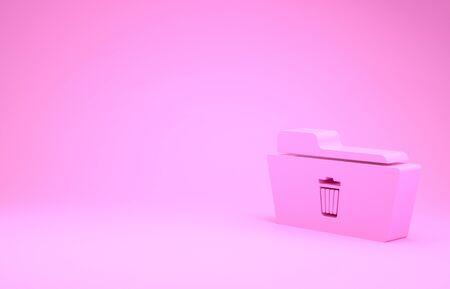 Pink Delete folder icon isolated on pink background. Folder with recycle bin. Delete or error folder. Close computer information folder sign. Minimalism concept. 3d illustration 3D render Stok Fotoğraf