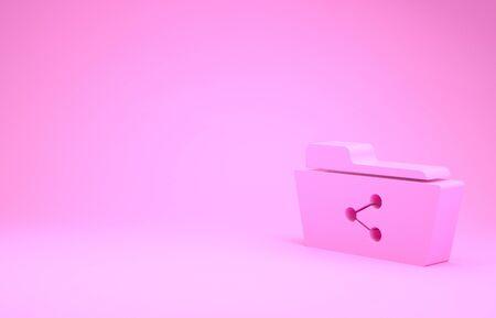 Pink Share folder icon isolated on pink background. Folder sharing. Folder transfer sign. Minimalism concept. 3d illustration 3D render