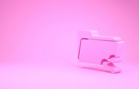 Pink Share folder icon isolated on pink background. Folder sharing. Folder transfer sign. Minimalism concept. 3d illustration 3D render Stok Fotoğraf - 131637305