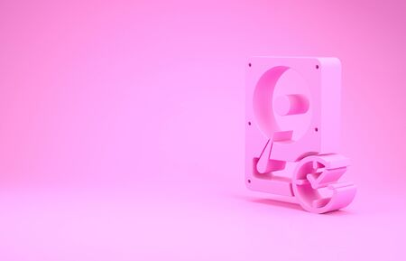 Pink Hard disk drive with clockwise sign, data recovery icon isolated on pink background. Minimalism concept. 3d illustration 3D render