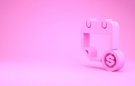 Pink Financial calendar icon isolated on pink background. Annual payment day, monthly budget planning, fixed period concept, loan duration. Minimalism concept. 3d illustration 3D render Stock Photo