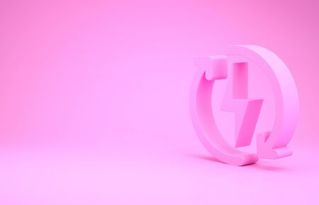 Pink Recharging icon isolated on pink background. Electric energy sign. Minimalism concept. 3d illustration 3D render