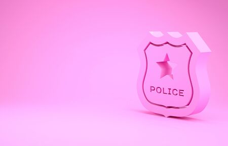 Pink Police badge icon isolated on pink background. Sheriff badge sign. Minimalism concept. 3d illustration 3D render