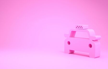 Pink Taxi car icon isolated on pink background. Minimalism concept. 3d illustration 3D render