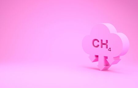 Pink Methane emissions reduction icon isolated on pink background. CH4 molecule model and chemical formula. Marsh gas. Natural gas. Minimalism concept. 3d illustration 3D render