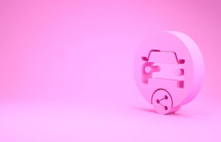 Pink Car sharing icon isolated on pink background. Carsharing sign. Transport renting service concept. Minimalism concept. 3d illustration 3D render