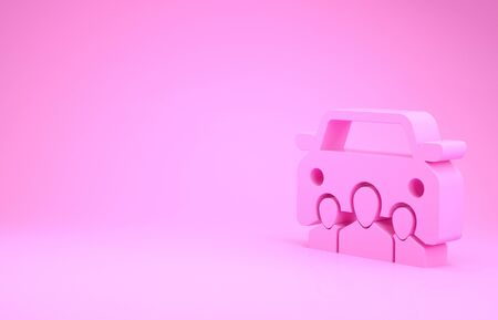 Pink Car sharing with group of people icon isolated on pink background. Carsharing sign. Transport renting service concept. Minimalism concept. 3d illustration 3D render Фото со стока