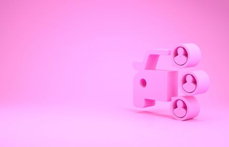 Pink Car sharing with group of people icon isolated on pink background. Carsharing sign. Transport renting service concept. Minimalism concept. 3d illustration 3D render Stok Fotoğraf