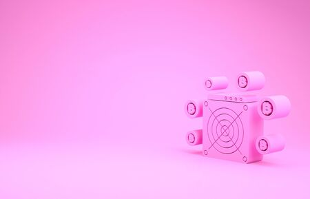 Pink ASIC Miner icon isolated on pink background. Cryptocurrency mining equipment and hardware. Application specific integrated circuit. Minimalism concept. 3d illustration 3D render