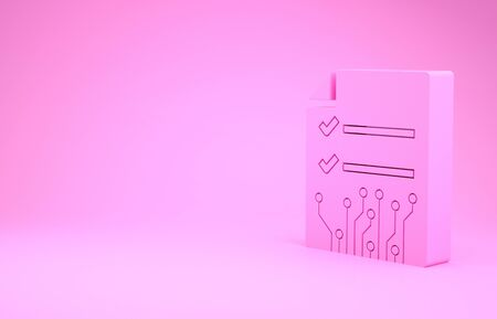 Pink Smart contract icon isolated on pink background. Blockchain technology, cryptocurrency mining, bitcoin, altcoins, digital money market. Minimalism concept. 3d illustration 3D render Stock Photo