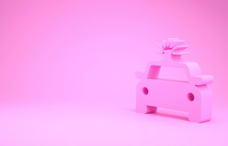 Pink Police car and police flasher icon isolated on pink background. Emergency flashing siren. Minimalism concept. 3d illustration 3D render