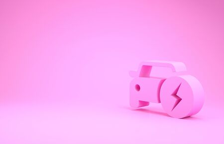 Pink Electric car and electrical cable plug charging icon isolated on pink background. Renewable eco technologies. Minimalism concept. 3d illustration 3D render