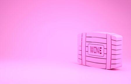 Pink Wooden barrel for wine icon isolated on pink background. Minimalism concept. 3d illustration 3D render Stok Fotoğraf