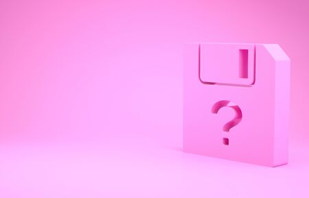 Pink Unknown document icon isolated on pink background. File with Question mark. Hold report, service and global search sign. Minimalism concept. 3d illustration 3D render