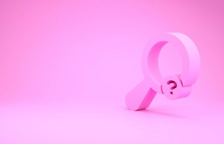 Pink Unknown search icon isolated on pink background. Magnifying glass and question mark. Minimalism concept. 3d illustration 3D render