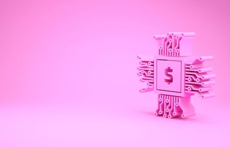 Pink Processor chip with dollar icon isolated on pink background. CPU, central processing unit, microchip, microcircuit, computer processor. Minimalism concept. 3d illustration 3D render Stok Fotoğraf