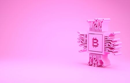 Pink CPU mining farm icon isolated on pink background. Bitcoin sign inside processor. Cryptocurrency mining community. Digital money. Minimalism concept. 3d illustration 3D render