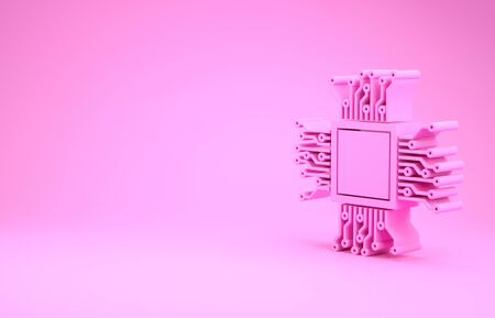 Pink Processor icon isolated on pink background. CPU, central processing unit, microchip, microcircuit, computer processor, chip. Minimalism concept. 3d illustration 3D render