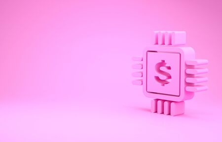 Pink Processor chip with dollar icon isolated on pink background. CPU and a dollar sign. Minimalism concept. 3d illustration 3D render