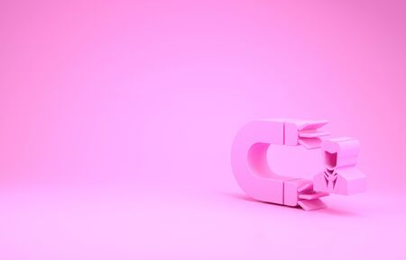 Pink Customer attracting icon isolated on pink background. Customer retention, support and service. Customer man attracting with magnet. Minimalism concept. 3d illustration 3D render