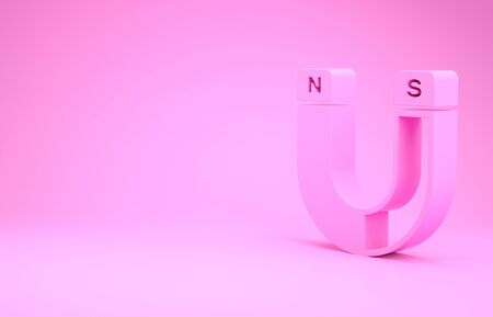 Pink Magnet icon isolated on pink background. Horseshoe magnet, magnetism, magnetize, attraction sign. Minimalism concept. 3d illustration 3D render