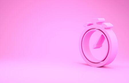 Pink Stopwatch icon isolated on pink background. Time timer sign. Chronometer sign. Minimalism concept. 3d illustration 3D render Banco de Imagens