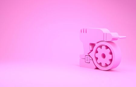 Pink Drill machine and gear icon isolated on pink background. Adjusting app, service concept, setting options, maintenance, repair, fixing. Minimalism concept. 3d illustration 3D render Stok Fotoğraf - 131642373