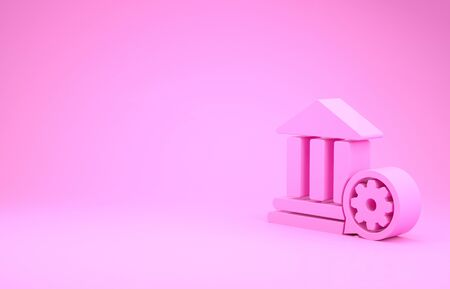 Pink Bank building and gear icon isolated on pink background. Adjusting app, service concept, setting options, maintenance, repair, fixing. Minimalism concept. 3d illustration 3D render Фото со стока