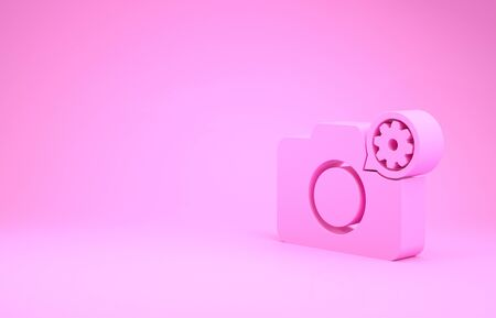 Pink Photo camera and gear icon isolated on pink background. Adjusting app, service concept, setting options, maintenance, repair, fixing. Minimalism concept. 3d illustration 3D render
