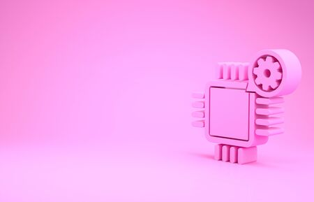 Pink Processor and gear icon isolated on pink background. CPU, chip service concept. Adjusting app, setting options, maintenance, repair, fixing. Minimalism concept. 3d illustration 3D render