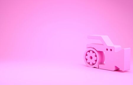 Pink Video camera and gear icon isolated on pink background. Adjusting app, service concept, setting options, maintenance, repair, fixing. Minimalism concept. 3d illustration 3D render Stok Fotoğraf