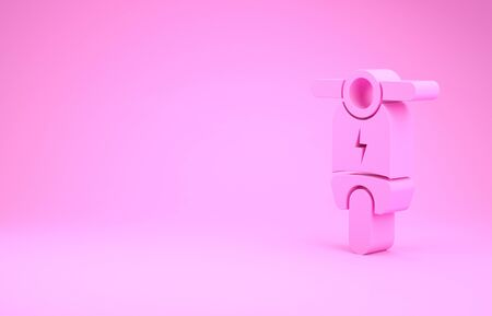 Pink Electric scooter icon isolated on pink background. Minimalism concept. 3d illustration 3D render Stock fotó