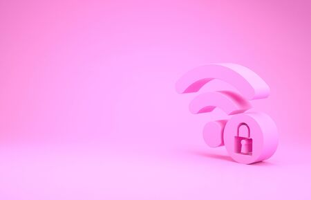 Pink Wifi locked sign icon isolated on pink background. Password Wifi symbol. Wireless Network icon. Wifi zone. Minimalism concept. 3d illustration 3D render