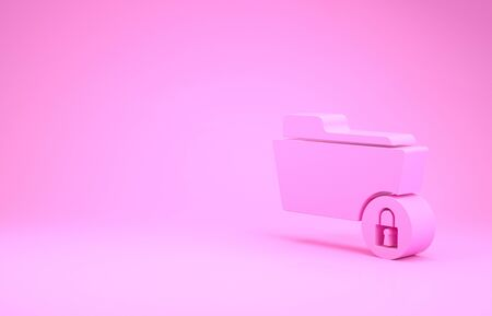 Pink Folder and lock icon isolated on pink background. Closed folder and padlock. Security, safety, protection concept. Minimalism concept. 3d illustration 3D render Stok Fotoğraf - 131642471