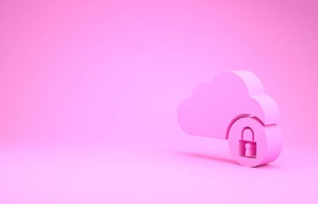 Pink Cloud computing lock icon isolated on pink background. Security, safety, protection concept. Minimalism concept. 3d illustration 3D render
