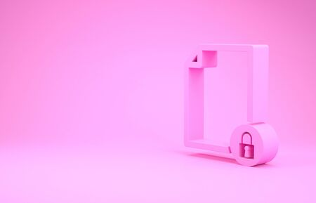 Pink Document and lock icon isolated on pink background. File format and padlock. Security, safety, protection concept. Minimalism concept. 3d illustration 3D render Stok Fotoğraf