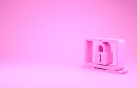 Pink Laptop and lock icon isolated on pink background. Computer and padlock. Security, safety, protection concept. Safe internetwork. Minimalism concept. 3d illustration 3D render 版權商用圖片