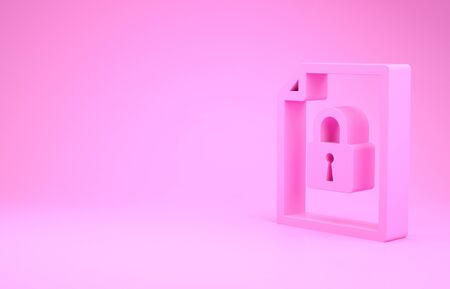 Pink Document and lock icon isolated on pink background. File format and padlock. Security, safety, protection concept. Minimalism concept. 3d illustration 3D render 版權商用圖片