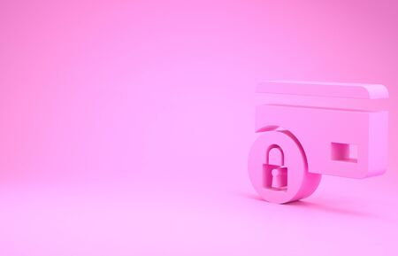 Pink Credit card with lock icon isolated on pink background. Locked bank card. Security, safety, protection concept. Concept of a safe payment. Minimalism concept. 3d illustration 3D render 版權商用圖片