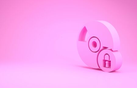 Pink CD or DVD disk with closed padlock icon isolated on pink background. Compact disc sign. Security, safety, protection concept. Minimalism concept. 3d illustration 3D render Imagens